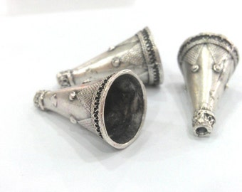 2 Silver Cone Antique Silver Plated Brass  Cones , Findings (30x16 mm) G10792