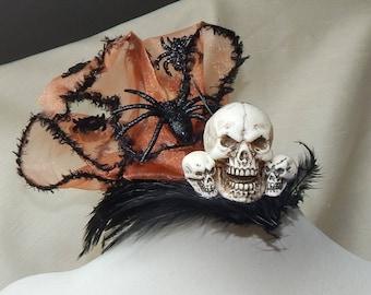 Halloween fascinator,Halloween hat,Halloween costume,skull fascinator,skull halloween fascinator,spider fascinator,spider halloween hat
