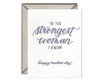 Strongest Woman Mother's Day letterpress card