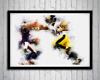 Antonio Brown Portrait, Pittsburgh Steelers, Wide Receiver, Sports Print Art, Sports Wall Art