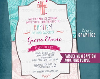 Paisley Mum Pretty Baptism Announcement Invite. Baptism Dedication Christening First Communion. DiY Printable by Tipsy Graphics.