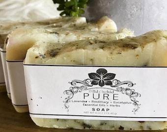 Lavender + Rosemary + Eucalyptus + Essential Oils + Herbs Soap Bar-100% Handmade