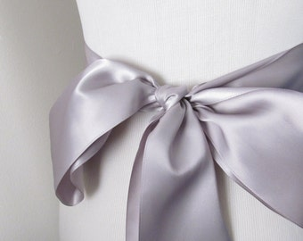 Silver Ribbon Sash / Double Faced Ribbon Sash / Bridal Sash/ Bridal Ribbon / Silver