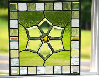 Stained Glass Window Panel, Leaded Glass Panel,  Window Art,  Home Decor for Those Loving Gardens 'Blossom'