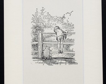 Mounted Winnie The Pooh, Christopher Robin & Pooh Play Pooh Sticks. Matted Vintage Black and White Print