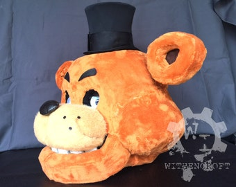 Freddy Fazbear Inspired Functional Full Head Bear Mask with Moving Jaw and Light up Eyes! Screen accurate, full lining, hidden switch & LEDs