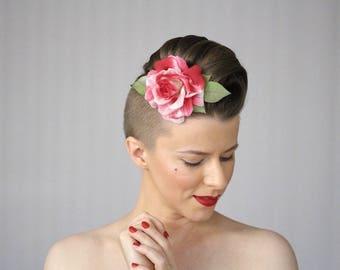 "Rose Fascinator, Flower Hair Clip, 1930s Headpiece, Vintage Hair Accessories Dark Pink Red - ""A Wink & A Kiss"""
