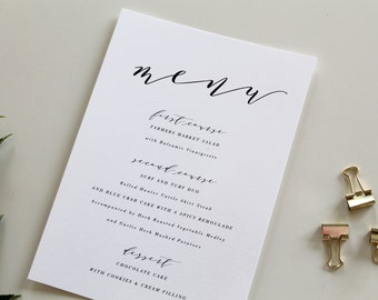 Calligraphy Wedding Menu | Calligraphy Dinner Menu, Wedding Dinner Menu, Wedding Menu, Simple Wedding Menu, Custom Wedding Menu, Menu