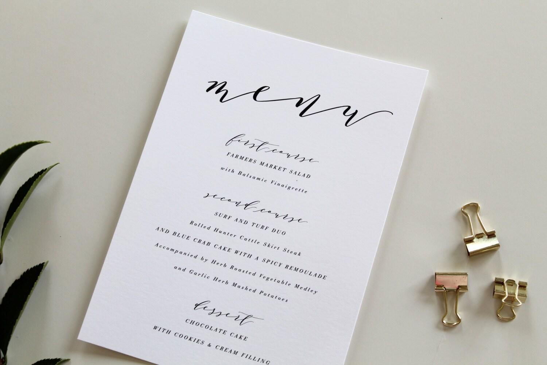 Wedding Menu Choice Image Wedding Dress Decoration And