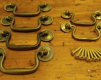 Antique Brass Drawer Pulls ~ Set of 6   Old and beautiful!