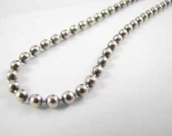Sterling Silver 4mm Oxidized Ball Chain 28 inch, Oxidized Necklace, Long Dog Tag Chain Necklace