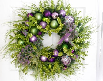 Christmas Wreath, Christmas Decor, Holiday Wreath, Lavender and Green Wreath, Front Door Wreath, Holiday Decor, Victorian Wreath