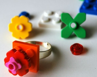 Play Day Lego Orange Ring - Build Your Own Lego Jewelry - Flower - Create Pretend Play - Upcycled - Kid Jewelry - Tweens