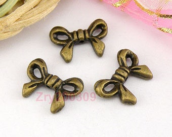 6 beads bow metal color bronze