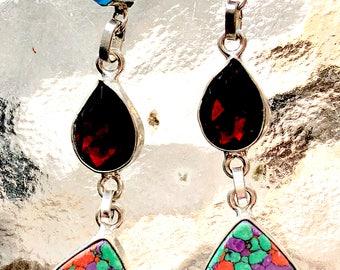 Earrings Mosaic stone with garnet and aquamarine
