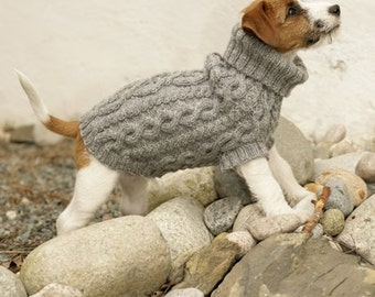 Handmade knit dog sweater / vest / coat (hand knit 100% soft wool) with cable pattern - Sizes XS - S - M