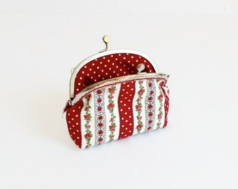 Make Up Purse -  Red and White Pouch  - Gift for Her