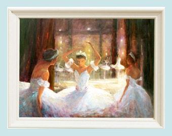 Oil Painting Ballerina, Ballet Dancer, Gift for Her, Ballerina print, Giclee print, Nursery decor, Wall art print, Barbara Applegate,