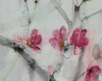 Japanese cherry blossom painting. Original watercolor