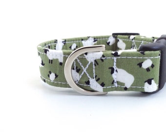 Sage Green Sheep Dog Collar | Dog Collar | Green Dog Collar | Puppy Collar | Girl Dog Collar | Farm Dog Collar | Male Dog Collar | Boy Dog