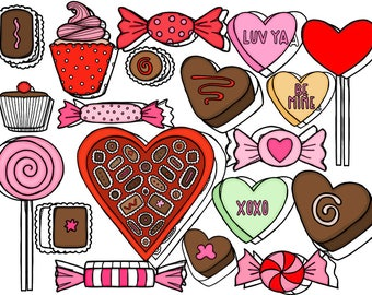 Valentine's Day Sweets Digital Clip Art Set- Color and Black Line COMBO- Instant Download