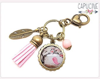 Pink bird Keychain bronze - Bird Bag charms bronze - Purse charm with glass dome bird
