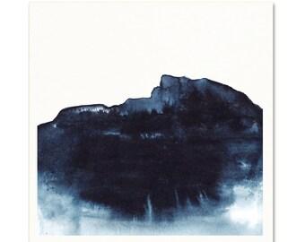 Indigo Watercolor Art Print. Monochromatic Blue Mountain Painting. Watercolor landscape.  Modern Guy Wall Art.  Masculine Coastal Wall Art.