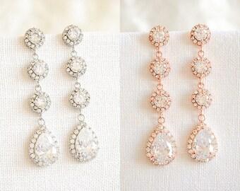 30% OFF, Rose Gold Bridal Earrings, Crystal Wedding Earrings, Dangle Bridal Earrings, Bridal Jewelry,Halo Teardrop Wedding Earrings, VENETIA