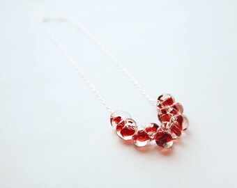 Red Glass Necklace, Glass Jewelry, Red Necklace, Silver Necklace