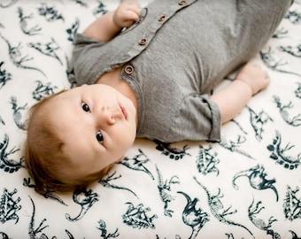 Black White Nursery Bedding Dinosaur -Changing Pad Covers -Black White Bedding -Toddler Crib Bedding -Dino Toddler Bedding-Mini Crib Bedding