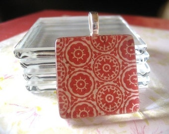 "COMBO..100 Bails-100 Glass Tiles - 1""...Great for Magnets, Pendant Necklaces"