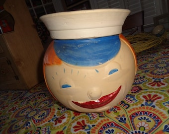 Vintage Rare Kitschy RRP American Bisque Moon Girl with Sailor Hat Cookie Jar