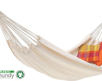 Ecomundy Pure XL - Premium Double Hammock,  handcrafted, natural unbleached organic cotton - GOTS