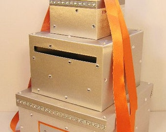 Wedding Card Box Silver and Orange Gift Card Box Money Box Holder--Customize your color