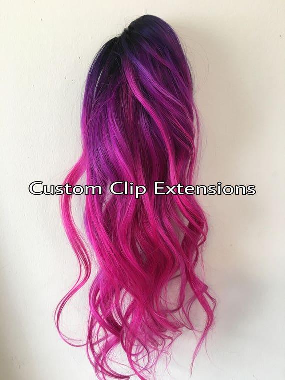 Hot Pink Magenta Clip In Hair Extensionsmagenta Hair Pink