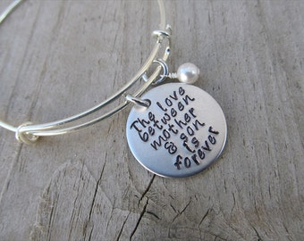 "Mother and Son Bracelet- Mother's Bracelet- ""The love between mother & son is forever"" Hand-Stamped Bracelet with an accent bead of choice"