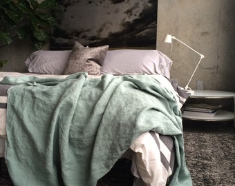 French Blue Classic Linen Throw - Sophisticated Bedding - Made to Order in the USA