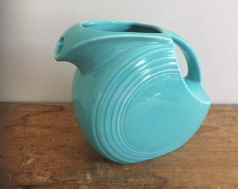 Vintage Turquoise Fiesta Disc Pitcher