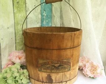 Antique Large Wood Candy Bucket, Country Store Eagle's Confections Wooden panel pail, vintage Advertising, handle, rustic primitive décor