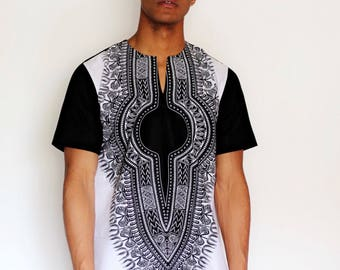 Black & white dashiki top by Christian Alaro