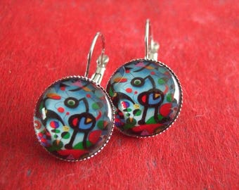 "Earrings ""Miro painting"" Cabochon silver stud earring"
