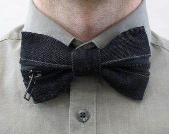 Black Denim Zipper Bow Tie
