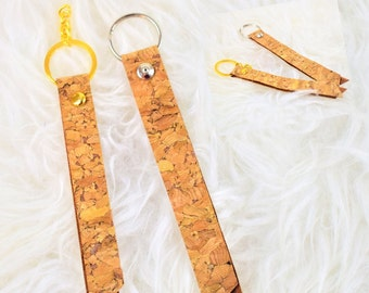 Cork Leather keychain, key fob, Cork Keyring, wristlet key chain,present for his / her. Gift under 10.