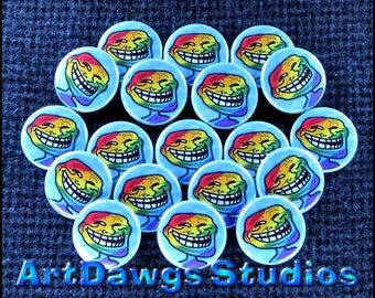 Rainbow Troll 1 Inch Pinback Buttons - Magnets, Zipper Pulls, Hair Ties, Shoe Lace Charms