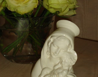 Vintage MADONNA and CHILD, White Porcelian, Bust of Madonna, Religious Stature  Beautiful Detail  Made in Italy