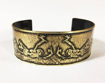 Skeleton Cuff Bracelet, Etched Brass Cuff Dancing Skeletons - Free Domestic Shipping