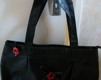 Black and red flower bag