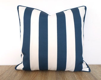 Blue and white outdoor pillow cover, blue striped outdoor cushion case, nautical pillow cover, canopy stripe cushion beach house decor