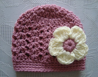 Baby girl hat, crochet newborn hat, newborn girl hat, crochet baby hat, newborn girl beanie, flower baby hat, newborn girl outfit, baby hat