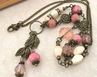 Pink cottage style antiqued bronze necklace vintage style pink beaded necklace